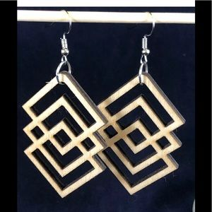 "Artisan Laser cut wood Boho earrings 2.5"" dangle"